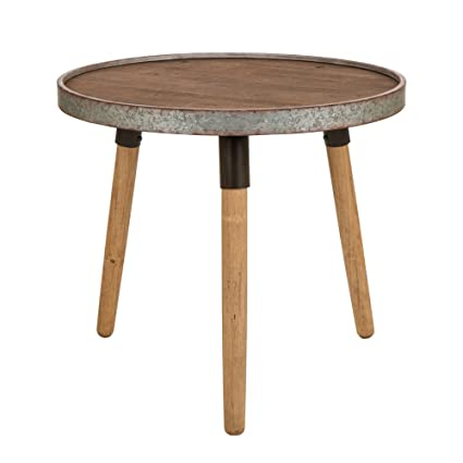 Glitzhome Rustic Metal Round End Table With Solid Wood Legs
