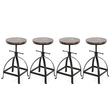 IKAYAA Lot De 4 Tabouret Bar Vintage Style Industriel Chaise Haute Reglable Mtal