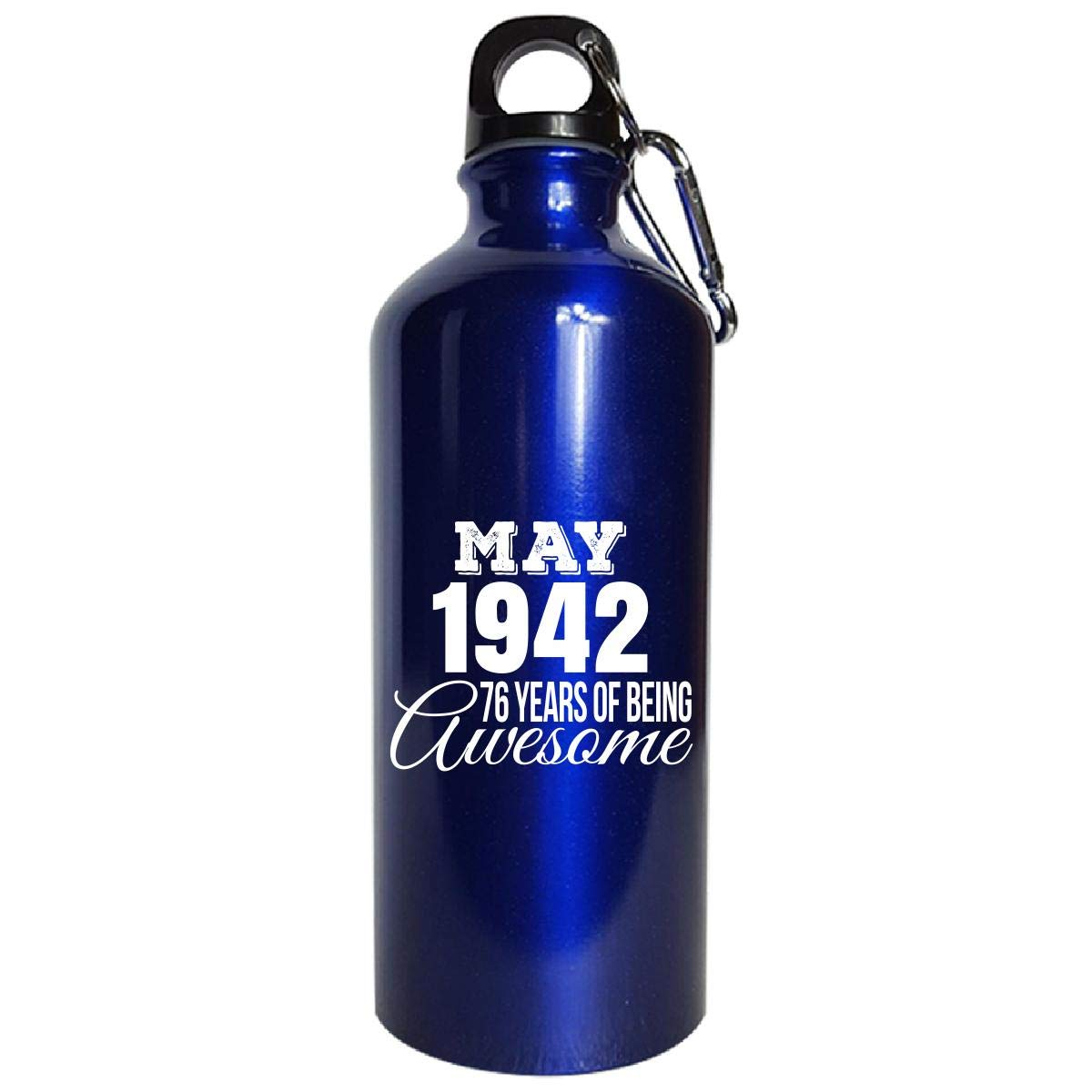 May 1942 76 Years Of Being Awesome Funny Birthday Gift - Water Bottle Metallic Blue