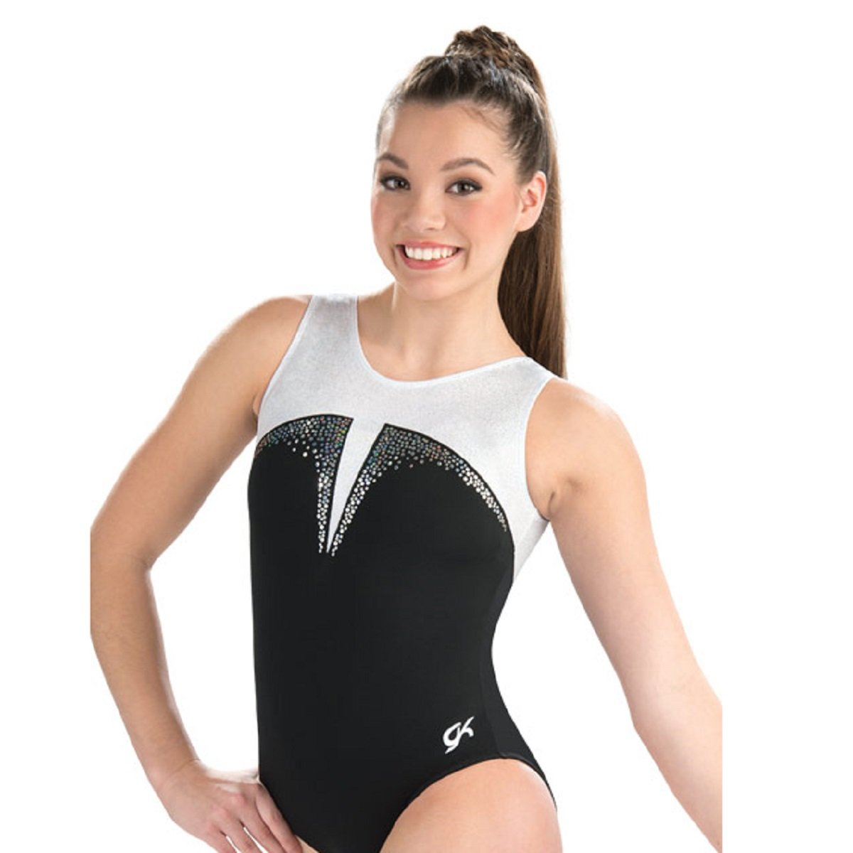 GK Elite Black Tie Sparkle Tank Leotard Child Large CS by GK Elite