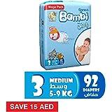 Sanita Bambi Size 3, Medium, 5-9 KG, Mega Pack, 92 Count,