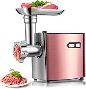 cheffano ALTRA Multifunctional Meat Grinder | Electric Variety Accessories Sausage Maker with Sausage Tube & Kubbe Maker | Stainless Steel Blades & Cutting Plates | Powerful Copper Motor Meat Mincer for Home Use-Rose Gold