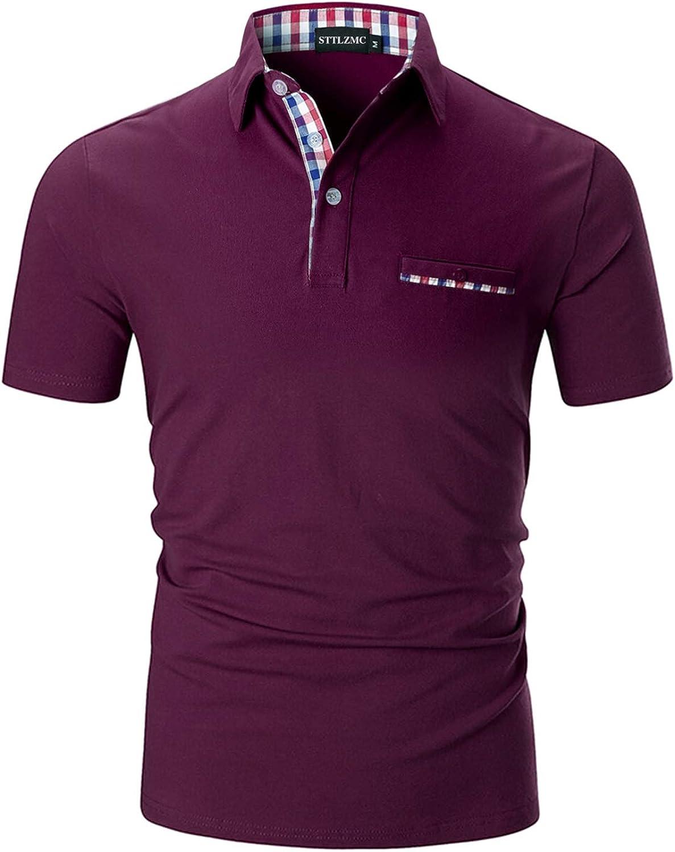 STTLZMC Moda Polo Uomo Manica Corta con Plaid Cotone T-Shirt Tops Tennis