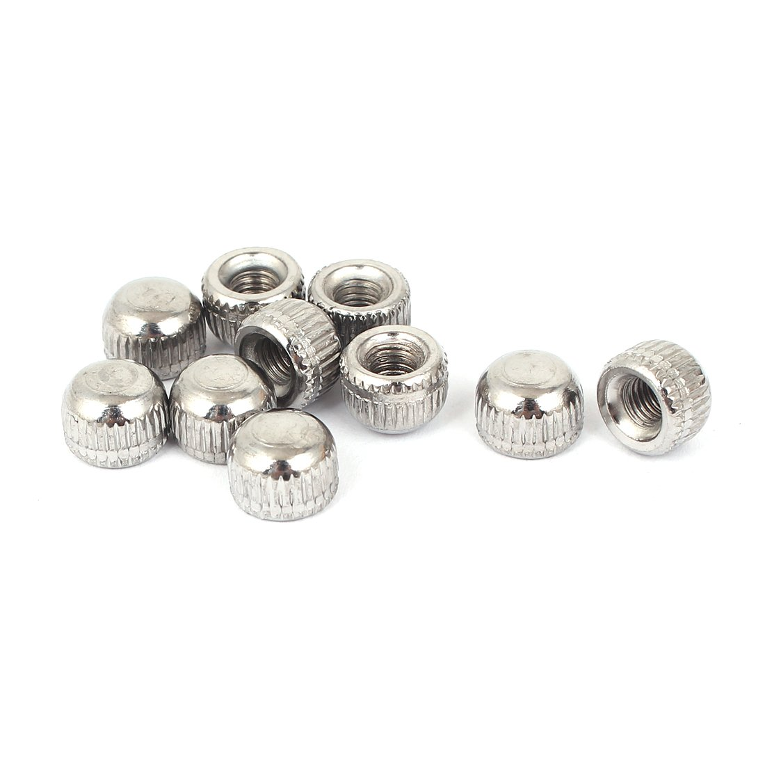uxcell M5 Female Thread Cap Acorn Shaped Nut Lamps Fittings Silver Tone 10pcs a16012900ux0907