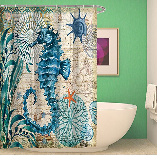 OYJJ Personalized Shower Curtains, Curtains, Marine Animal Prints, Waterproof Shower Curtains, Bathroom Window Protection Curtains -M, Hippocampus by OYJJ
