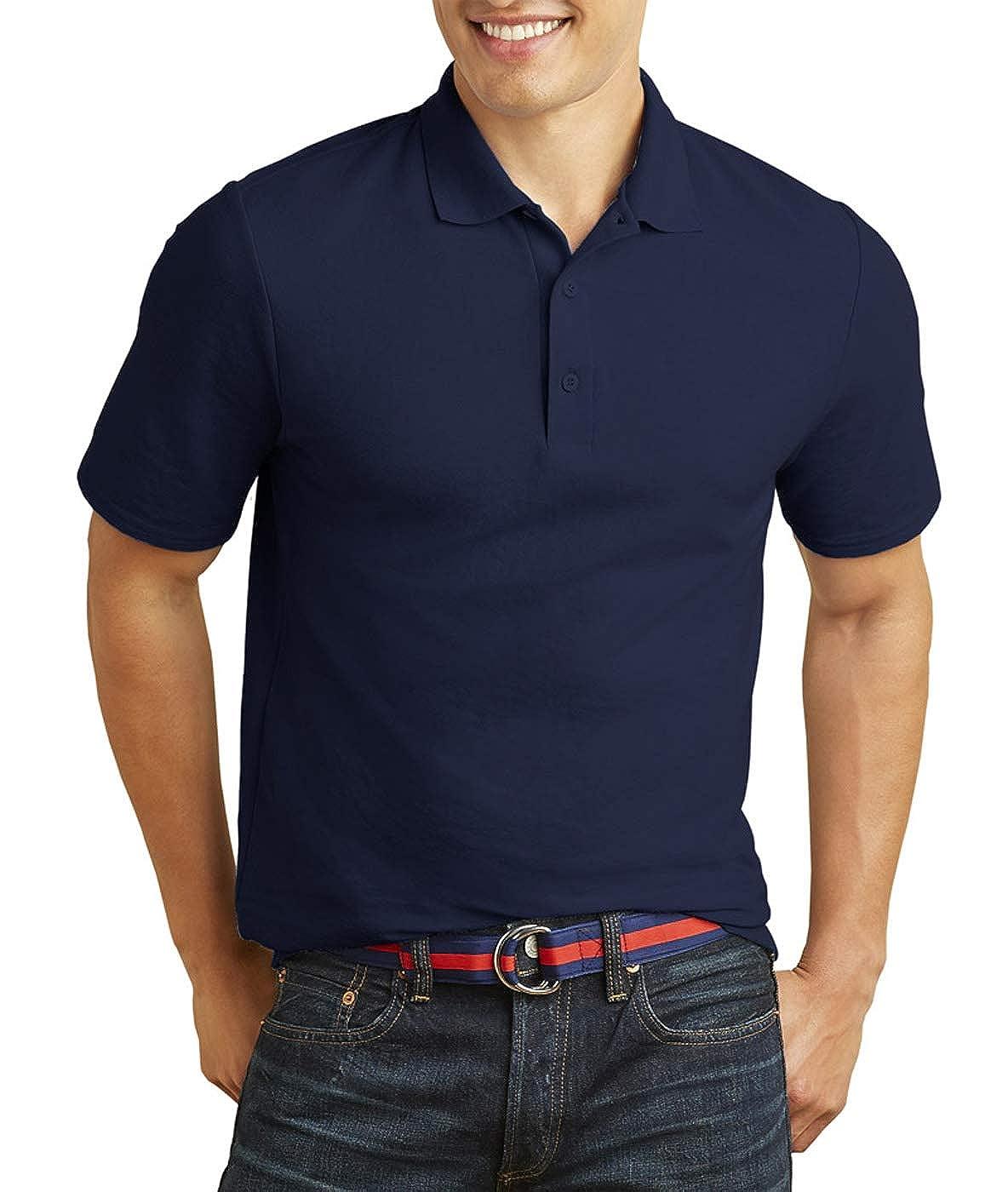 Gildan Mens Moisture Wicking Bottom Hem Pique Polo Shirt