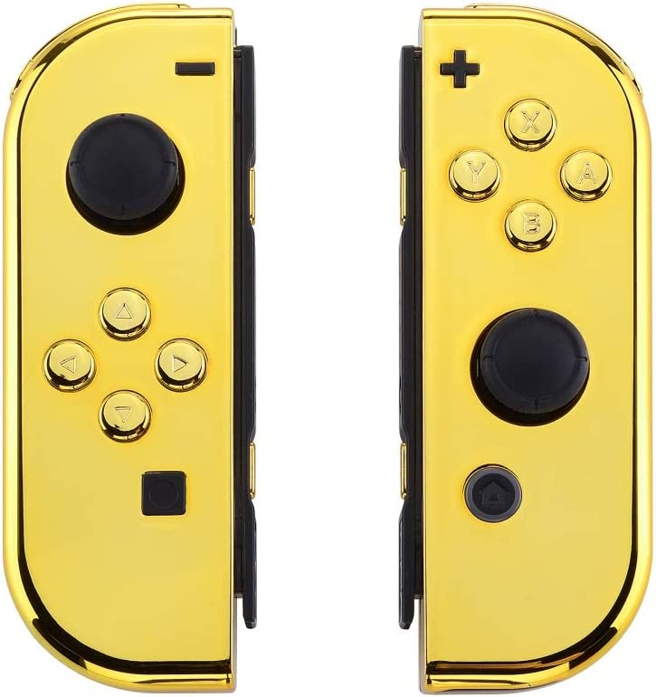 eXtremeRate Carcasa Joy-con para Nintendo Switch Funda de Agarre de reemplazo Shell de Bricolaje metálico con Botón Completo para Nintendo Switch No Incluye la Carcasa de la Consola Oro (Cromado): Amazon.es: Electrónica