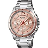 Casio Men's Light Dial Stainless Steel Band Watch - MTP-1374D-9AVDF