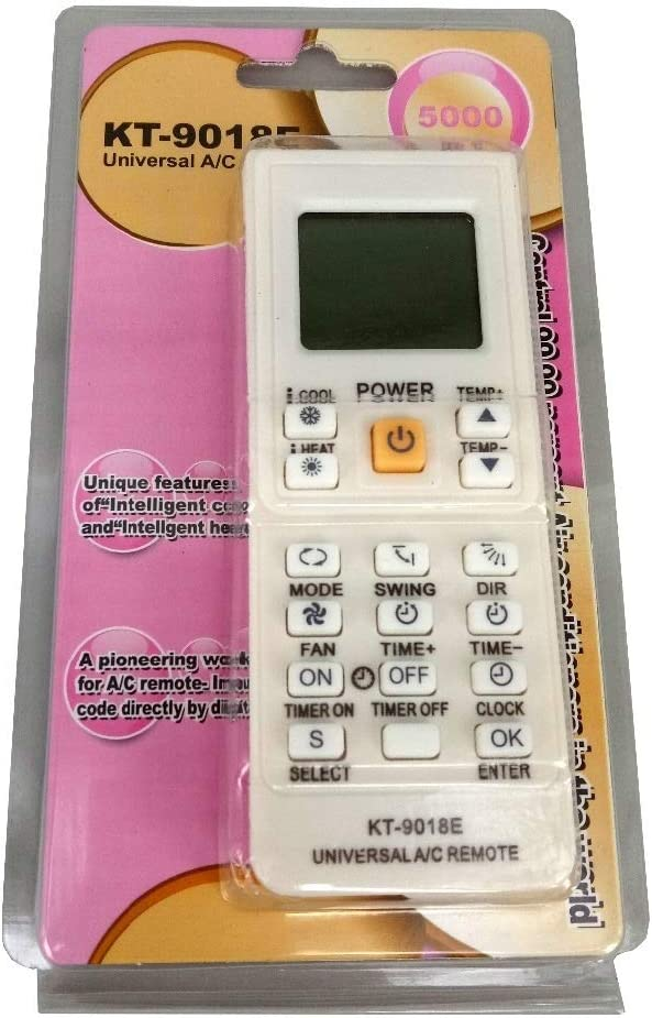 SHI-Y-M-KT Control Remoto Universal de Aire Acondicionado 5000 en 1 KT-9018E LCD AC