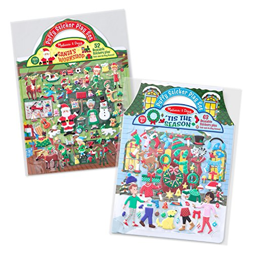 Travel Pad Activity (Melissa & Doug Puffy Reusable Sticker Pad Sets -Santa's Workshop & 'Tis the Season Activity Books)