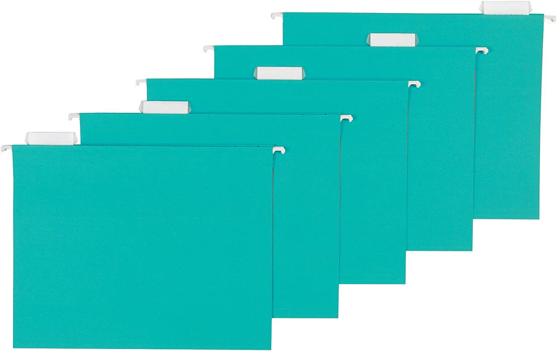 AmazonBasics Hanging Folders, Letter Size, Aqua, 25-Pack