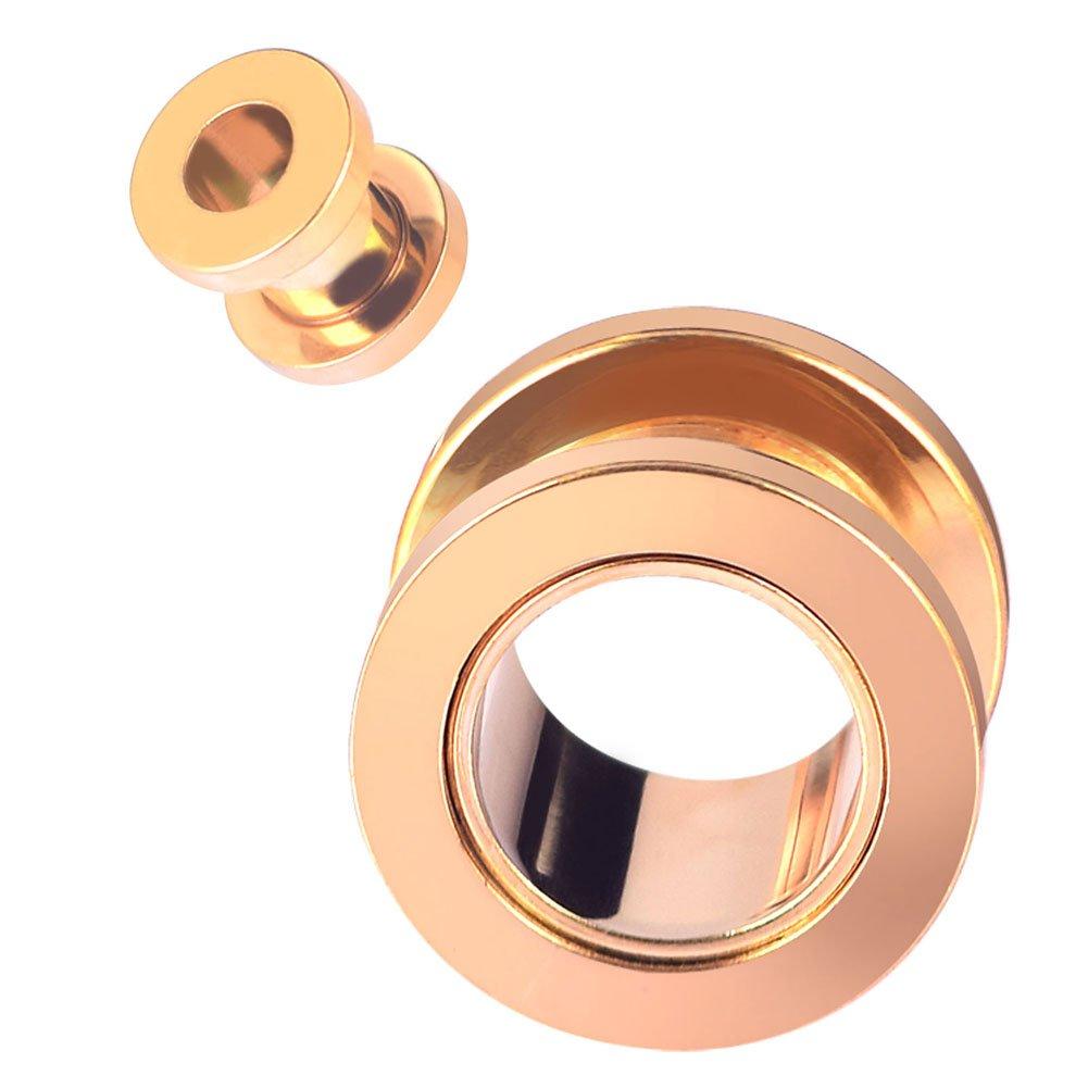 Longbeauty juego de 2 tornillos de acero inoxidable tunnel plug expansores de oreja, dorado, 10 mm: Amazon.es: Deportes y aire libre