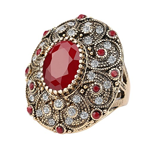 SKCUTE Vintage Rings Unique plated Ancient Gold Mosaic AAA Crystal Big Oval Ruby Ring Women Anillo 9.0 (Ca3 Crystal)