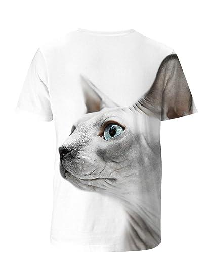 ce1b126f Amazon.com: Men's T-Shirt Crew Neck Sphynx Cats White Short-Sleeve Custom  Tees 3D Design: Clothing