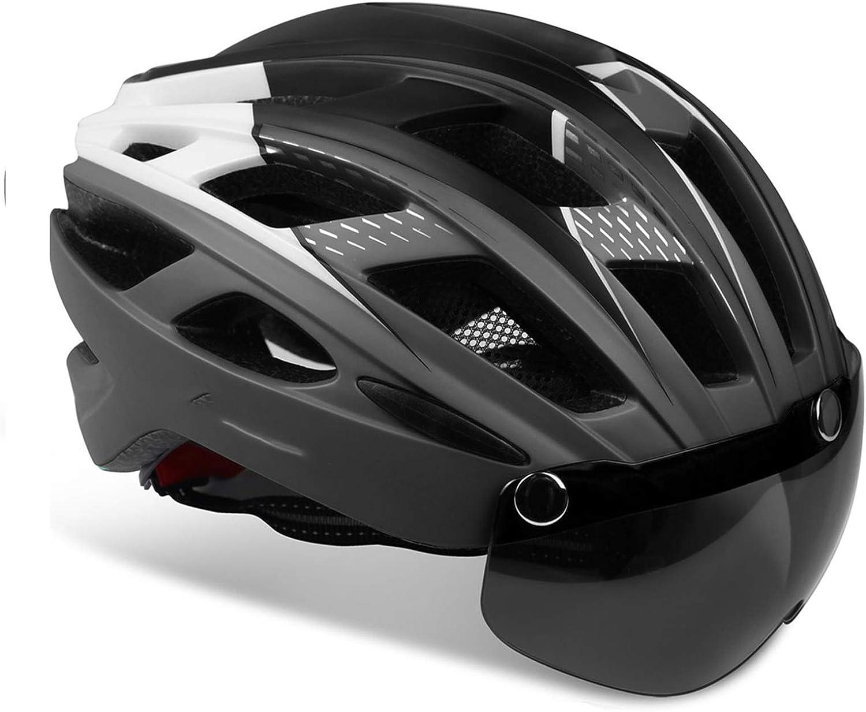 KINGLEAD Casco de Bicicleta con Luz de Seguridad y Visera de Protección, Casco de Ciclo Protegido Unisex Certificado CE para Andar en Bicicleta al Aire Libre Ajustable Superligero Modelo 069
