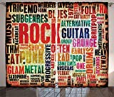 Ambesonne Music Decor Curtains, Retro Rock and Roll Symbol Lettering in Grunge Distressed Colors Back Then Sound Music Theme, Living Room Bedroom Decor, 2 Panel Set, 108 W X 90 L Inches, Multi For Sale