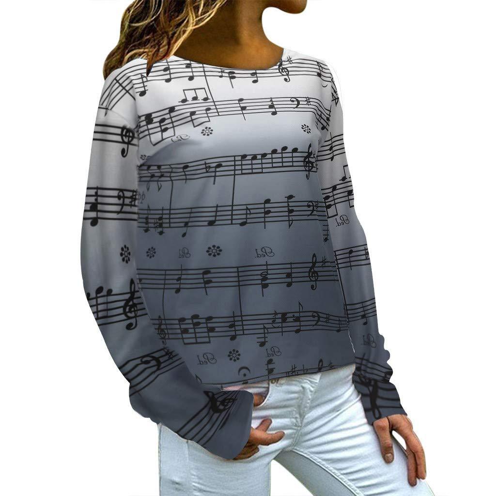 ★ Futurelove ★ Women Casual Hoodies Sweatshirt Tops Two Tone Music Note Print Drawstring Pullover Gray by ★ Futurelove ★