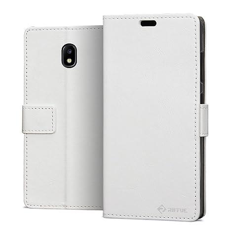 RIFFUE Funda Samsung Galaxy J7 2017, Carcasa Ultrafina con Tapa Flip de Cuero Sintético + Silicona Elegante Libro con Cierre Magnético, Ranuras, Cover ...