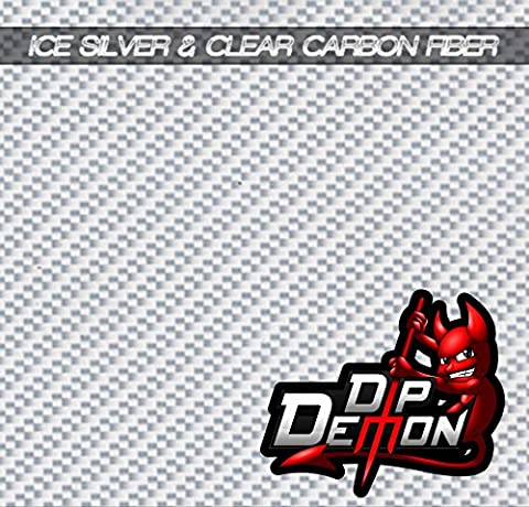 CARBON FIBER ICE SILVER & CLEAR HYDROGRAPHIC WATER TRANSFER FILM HYDRO DIPPING DIP DEMON - Demon Carbon Fiber