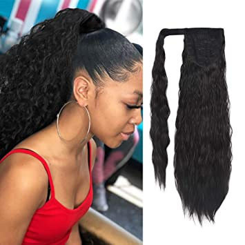 Afro Kinky Curly Human Hair Ponytail Extensions Kinky Curly Drawstring Human Hair Ponytail Hairpieces Natural Curly Clip In Ponytail 10