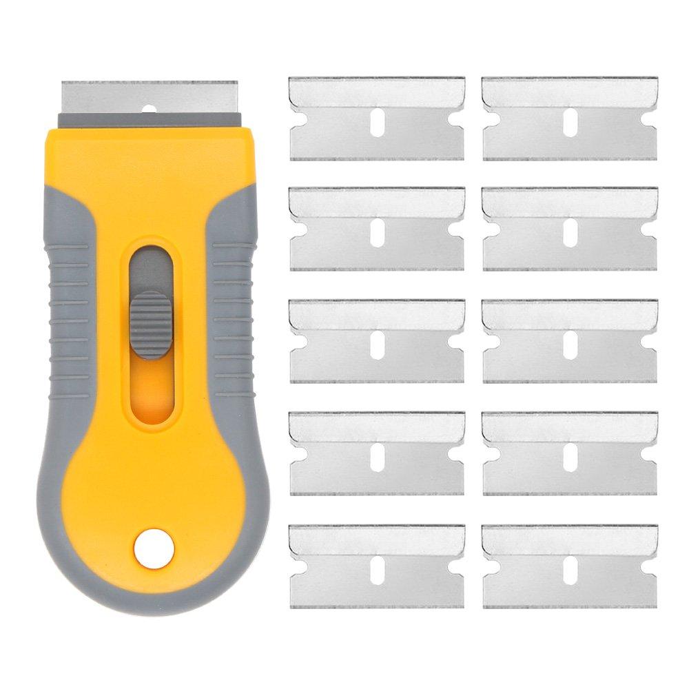 EEFUN Grattoir pour Plaque Vitrocéramique avec Poignée Souple + 10 pièce Lames Métallique,Vitres/Miroir/Sol Nettoyage