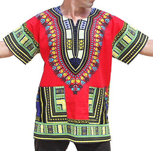 RaanPahMuang Unisex African Bright Dashiki Cotton Shirt Variety Colors #12,LT RED, M  -