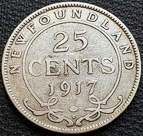 1917C NEWFOUNDLAND SILVER 25 CENTS COIN 92.5% SILVER COIN (Newfoundland Coin)
