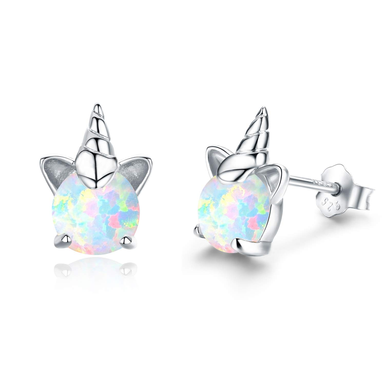 Hypoallergenic Unicorn Earrings S925 Sterling Silver Animal Earrings Synthetic Opal Stud Cute Birthday Gift for Her Stocking Stuffers(A) by PRAYMOS