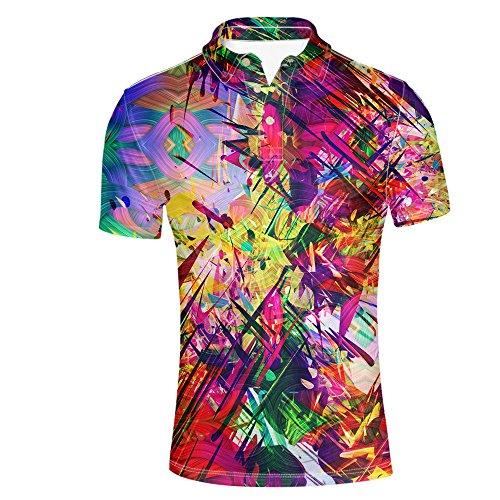 HUGS IDEA Colorful Men's Jersey Polos Shirt Summer Hipster Hip Hop Fashion Short Sleeve T-Shirt Tops