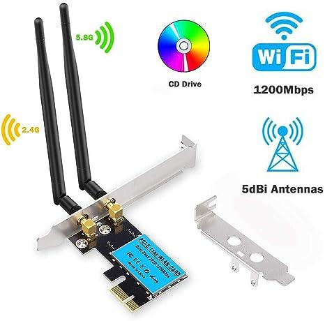OSCAR BATES - Adaptador de Red inalámbrico (1200 Mbps, PCI-E WiFi, 2,4 G/5 G, Compatible con Ordenadores de sobremesa: Amazon.es: Hogar