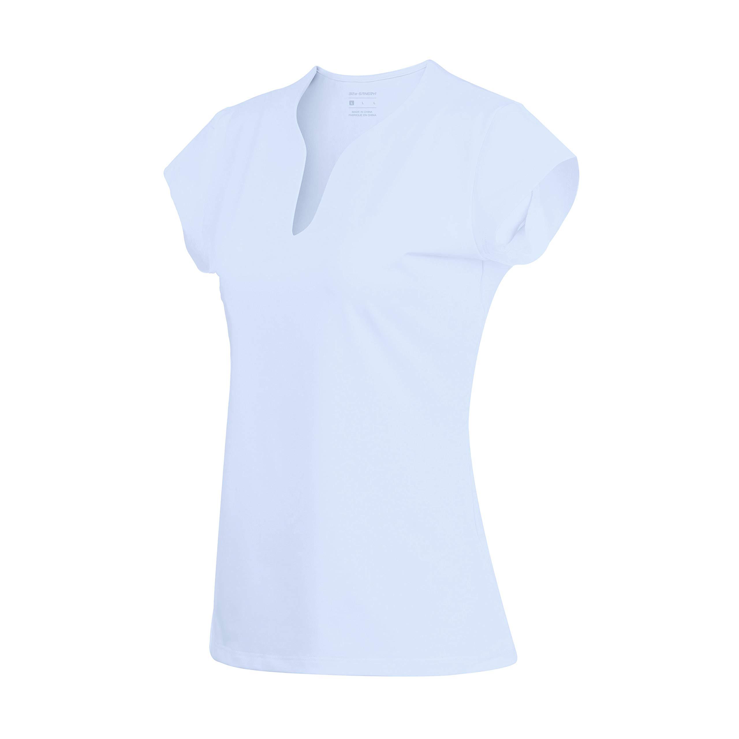 32e-SANERYI Women's V-Neck Pullover Short Sleeve Sports Shirts Quick-Drying Tees (S, Light Blue)