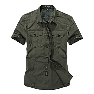 (habille) メンズ ミリタリー 半袖 シャツ トップス 襟 3色展開 夏服 大きいサイズ おまけ付(3カラー)