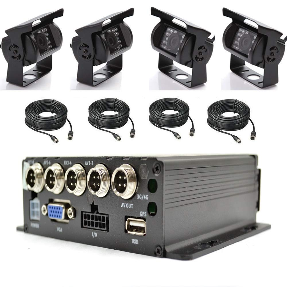 """4CH Car Mobile DVR Recorder with 4 IR Light Vision Camera and Cable 7/"""" LCD US"""