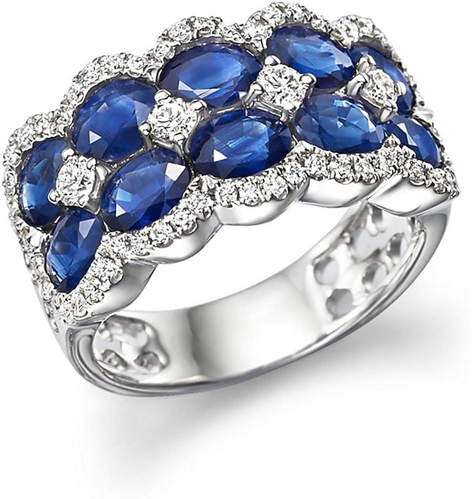 5,00Ct ovalado azul zafiro Piedra anillo de diamantes anillo de compromiso con diamante 14K oro blanco todos los tamaño
