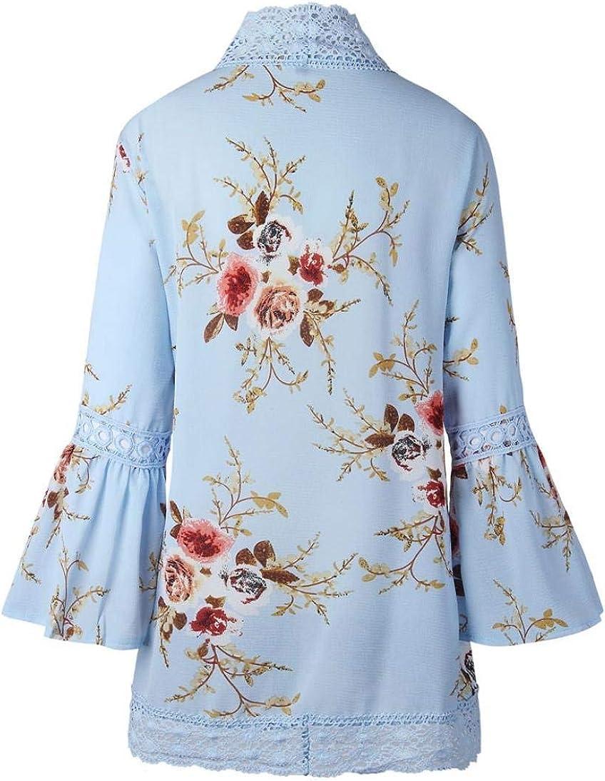 MEHOUSE Floral Imprim/é Femme Kimono Veste Cardigan Gilet Manteau Floral L/âche Bell Manches Casual Kimono Cardigan Veste Boho Dentelle Patchwork Chic Cover Blouse Top Et/é en Mousseline
