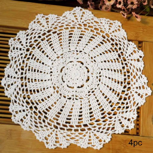- kilofly Crochet Cotton Lace Table Placemats Doilies Value Pack, 4pc, Daisy, White, 13.7 inch