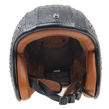 Delbel estilo vintage moto cascos cascos abiertos de la cara (XL)
