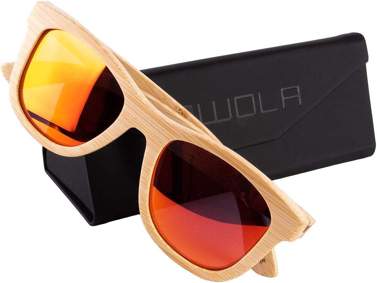 WOLA estilo cuadradas gafas de sol en bamb/ú SURF mujer y hombre madera polarisado sunglasses UV400