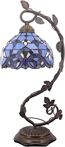 Tiffany Desk Lamp W8H20 Inch Lavender Stained Glass Table Reading Light Blue Purple Baroque Style S003C WERFACTORY LAMPS Parent Lover Living Room Bedroom Coffee Bar Dresser Bookcase Bedside Craft Gift
