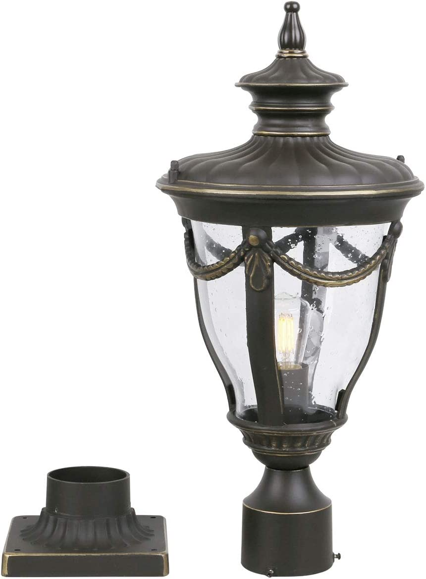 Goalplus Outdoor Post Light Fixture with Pier Mount Vintage Post Lamp for Yard 60W E26 Post Lantern in Bronze Finish with Clear Seeded Glass, 22 inch High, IP44 Waterproof, LMT0515-M