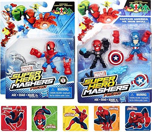 Super Hero Mashers Micro figures Series 1 Spider-Man / Avengers Captain America & Red Skull 2-Pack Marvel Characters + Bonus Stickers