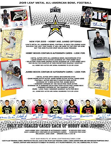 2019 Leaf Metal All-American Bowl Football Hobby Box