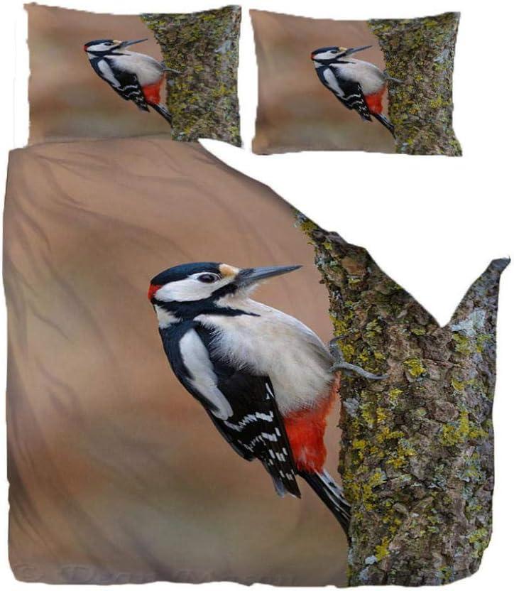 HANTAODG Juego de edredón con 2 Fundas de Almohada,Funky Formas Funda de edredón Juego edredón Almohada Pájaro Colorido en árbol 220X260cm