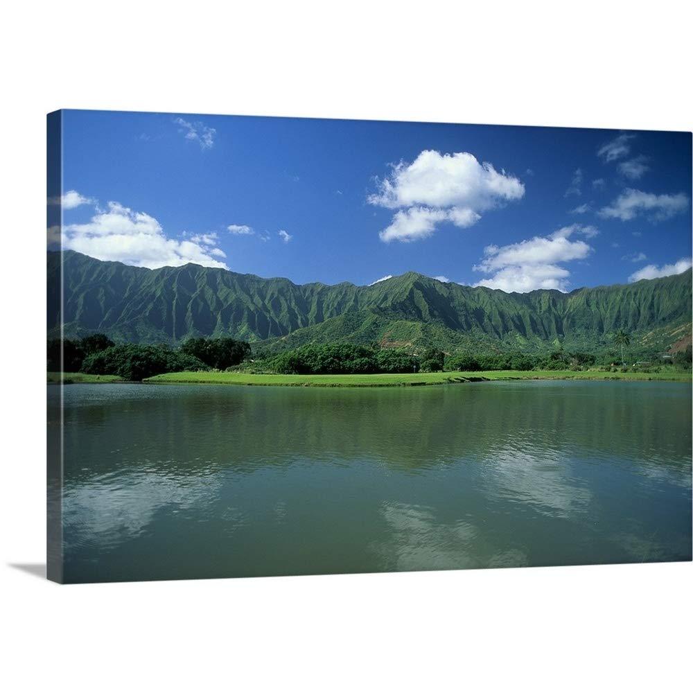 David Cornwellプレミアムthick-wrapキャンバス壁アートプリントハワイ、オアフ島、Calm池というタイトルの前景、ko 'olau山背景 30