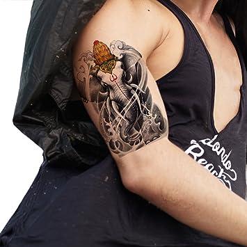 TAFLY grande tatuajes temporales elefante Designs cuerpo Art para ...