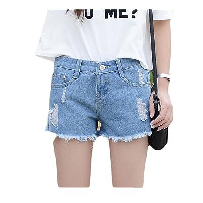 Abetteric Women Assymetry Highwaist Loose Fit Holes Slim Fit Hot Shorts Jeans Light Blue XL