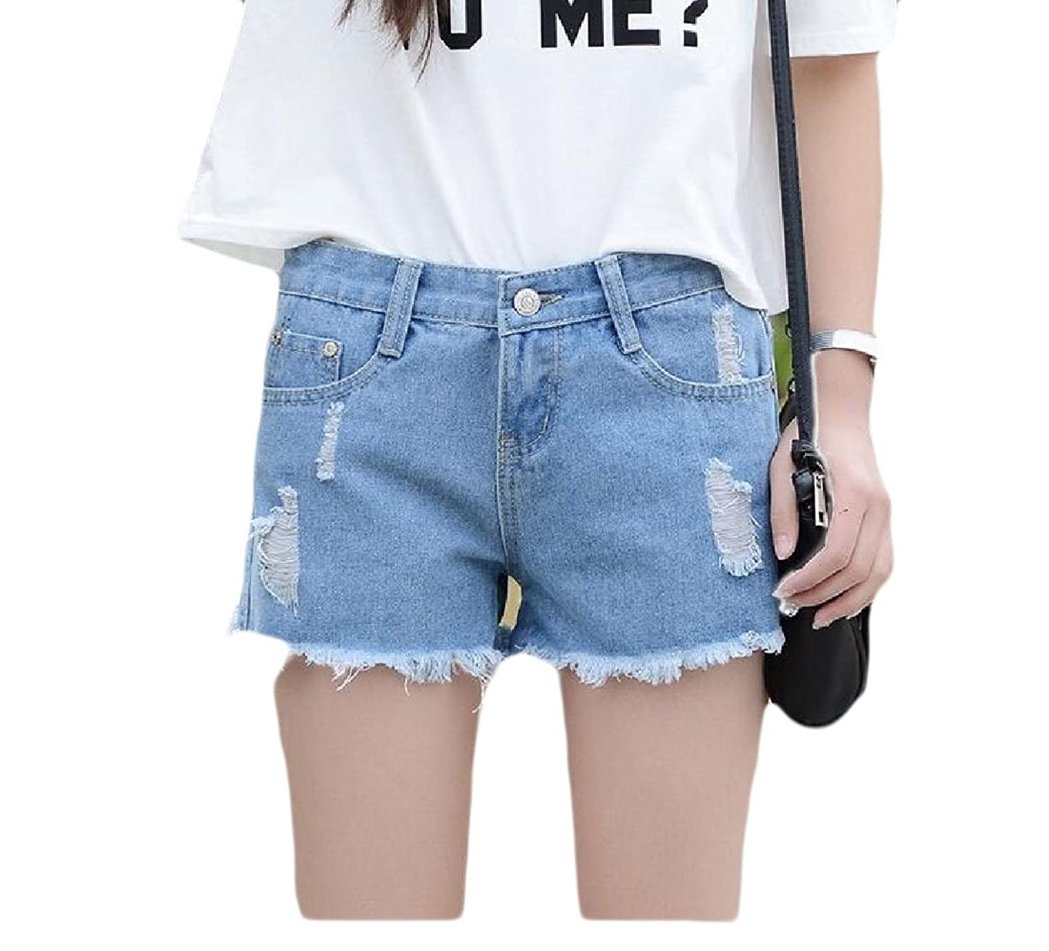 Abetteric Women Assymetry Highwaist Loose Fit Holes Slim Fit Hot Shorts Jeans Light Blue XS