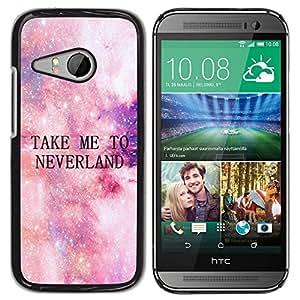 Lléveme a Neverland Estrellas Cosmos Cielo- Metal de aluminio y de plástico duro Caja del teléfono - Negro - HTC ONE MINI 2 / M8 MINI