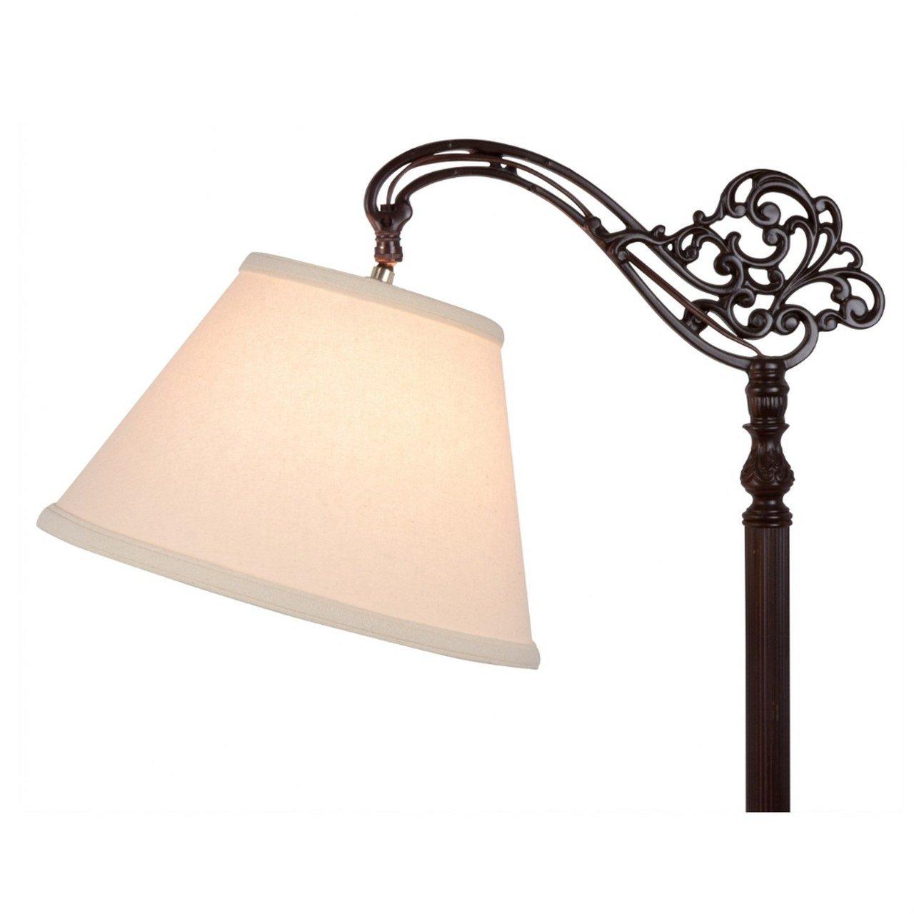 Upgradelights Uno Beige Linen Lamp Shade Floor Lamp Replacement Shade Down Bridge Shade
