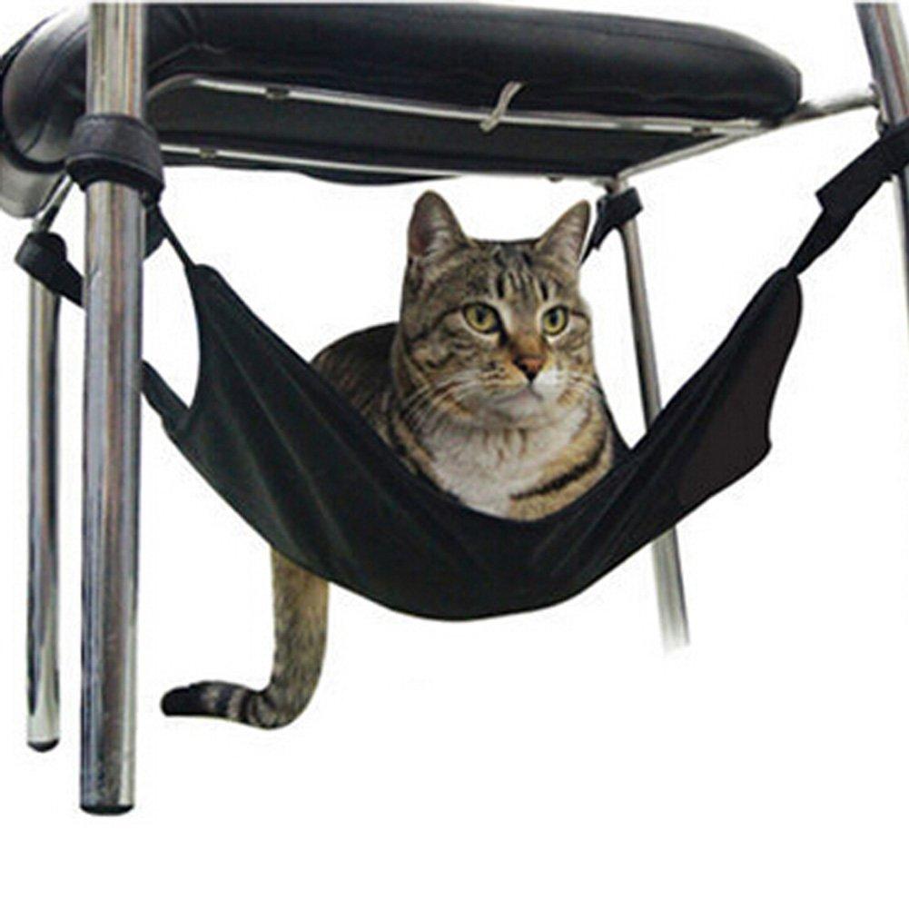 Saymequeen 15.7515.75'' Cat Hammock Pet Crib Warm Hammock Design Fits Under Table Chair (Black)